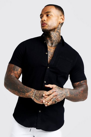 Black Short Sleeve Denim Shirt In Muscle Fit