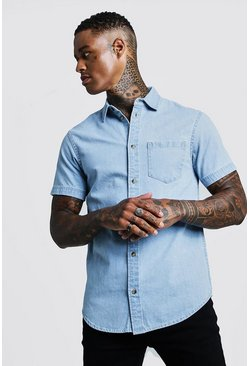 Herr Pale blue Short Sleeve Denim Shirt