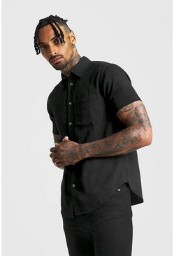 Mens Black Short Sleeve Denim Shirt