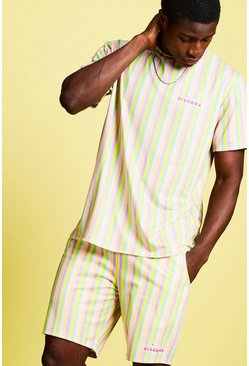 Mens Yellow Swizzels Fizzers Stripe T-Shirt & Short Set