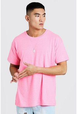 Mens Neon-pink Neon Oversized Crew Neck T-Shirt