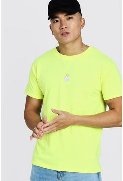 Mens Neon-yellow Neon Oversized Crew Neck T-Shirt