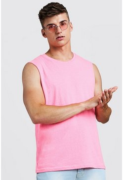 Mens Neon-pink Neon Oversized Sleeveless Tank