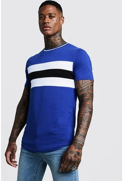 Mens Cobalt Longline Colour Block Muscle Fit Tee