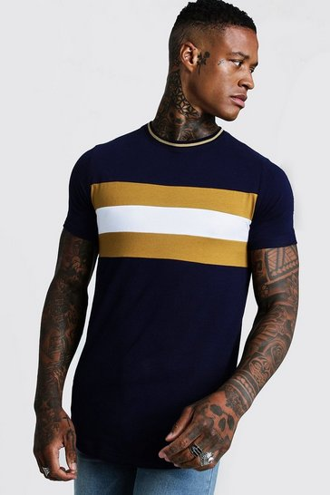 Mens Mustard Longline Colour Block Muscle Fit Tee