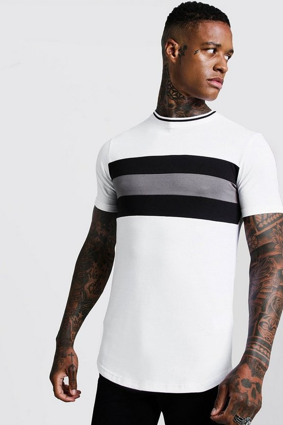 White Longline Colour Block Muscle Fit Tee