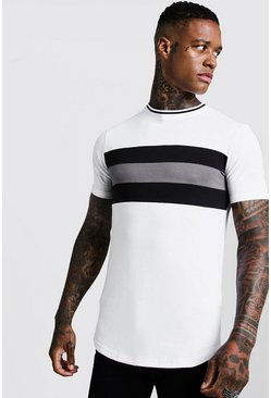 Herr White Longline Colour Block Muscle Fit Tee