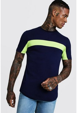 Mens Lime Colour Block Muscle Fit T-Shirt