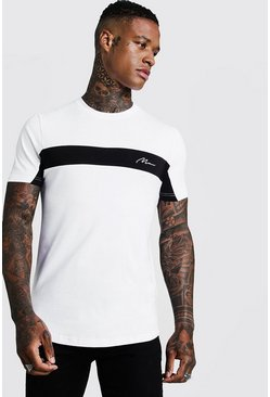 Herr White Man Signature T-shirt med blockfärger och muscle fit