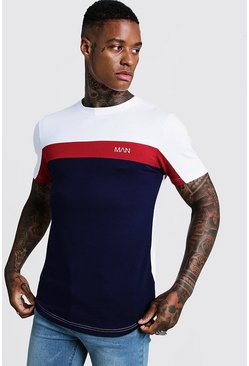 Mens Red Original MAN Colour Block Muscle Fit T-Shirt