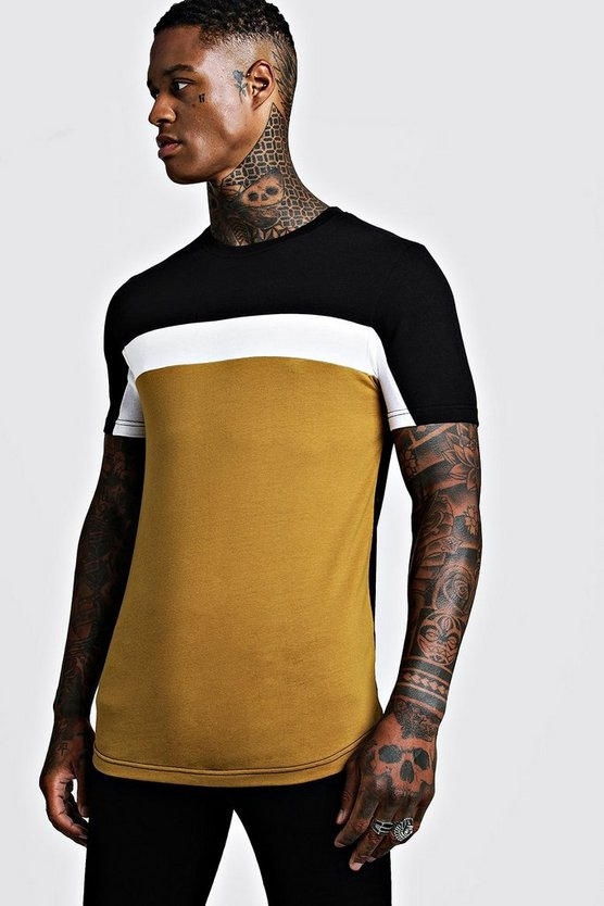 Mustard Colour Block Muscle Fit T-Shirt