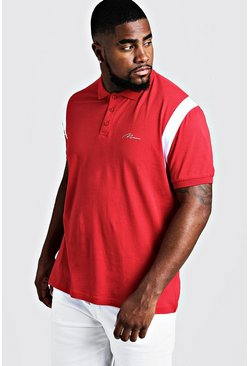 Red Big & Tall MAN Jersey Polo With Shoulder Tape