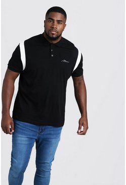 Herr Black Big & Tall MAN Jersey Polo With Shoulder Tape
