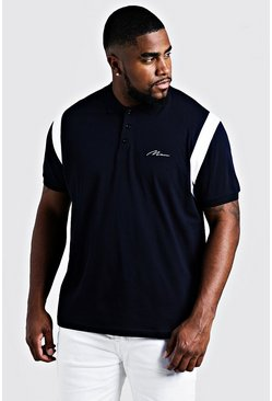 Herr Navy Big & Tall MAN Jersey Polo With Shoulder Tape