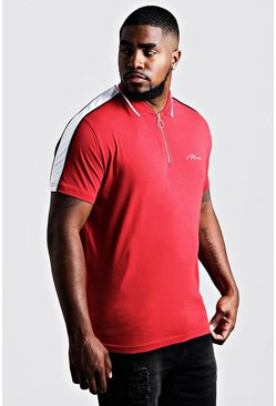 Herr Red Big & Tall MAN Zip Through Shoulder Panel Polo