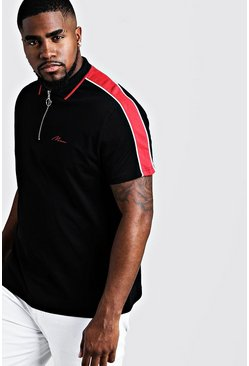Black Big & Tall MAN Zip Through Shoulder Panel Polo