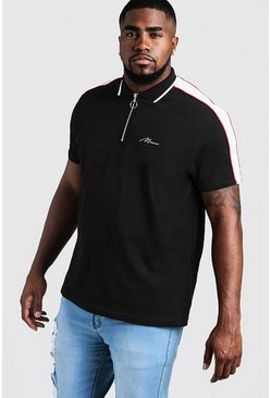 Mens Black Big & Tall MAN Zip Through Shoulder Panel Polo