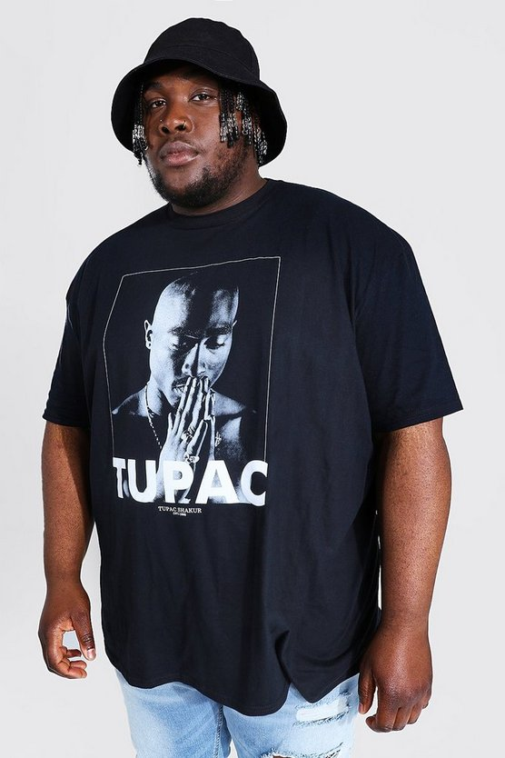 Mens Black Big and Tall Tupac Licence T-Shirt