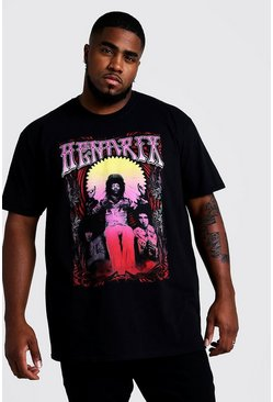 Mens Black Big and Tall Jimi Hendrix License T-Shirt