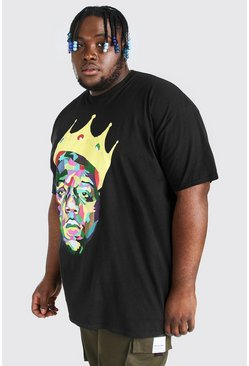 Big & Tall Camiseta con licencia Biggie Crown, Negro, Hombre