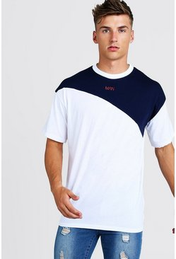 Mens White Oversized Original MAN Colour Block T-Shirt