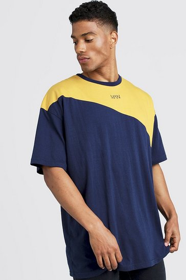 Mens Navy Oversized Original MAN Colour Block T-Shirt