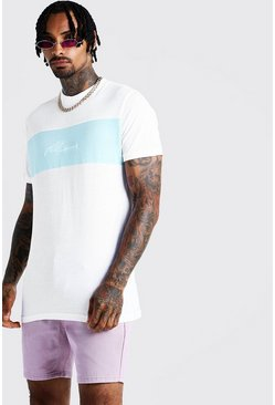 Mens Aqua Longline Colour Block Man Signature T-Shirt