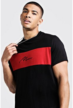 Mens Red Longline Colour Block MAN Signature T-Shirt