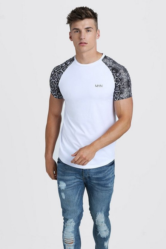 Mens White Original MAN Muscle Fit Snake Print Raglan T-Shirt