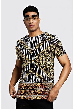 Mens Black Original MAN Animal & Baroque T-Shirt