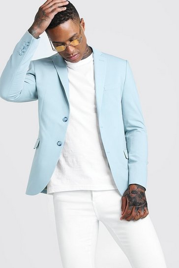 Mens Duck egg Skinny Fit Plain Suit Jacket