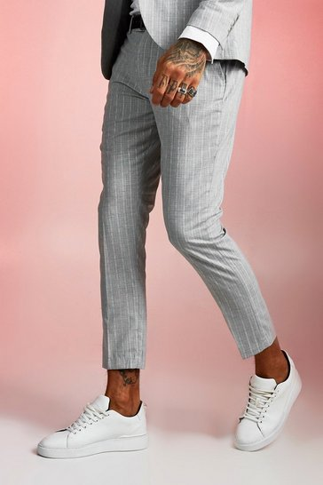 Mens Light grey Skinny Fit Cropped Suit Trouser