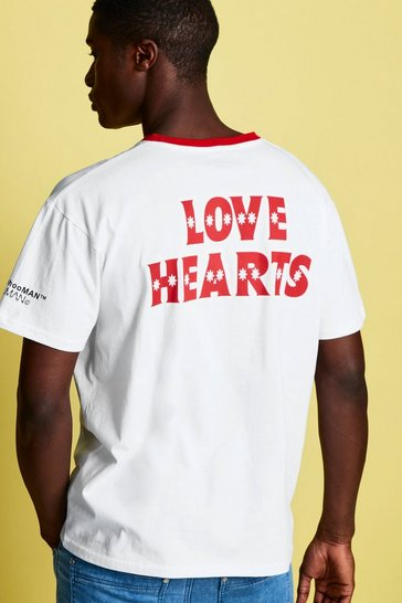 Mens White Swizzels Loose Fit Love Heart Print T-Shirt