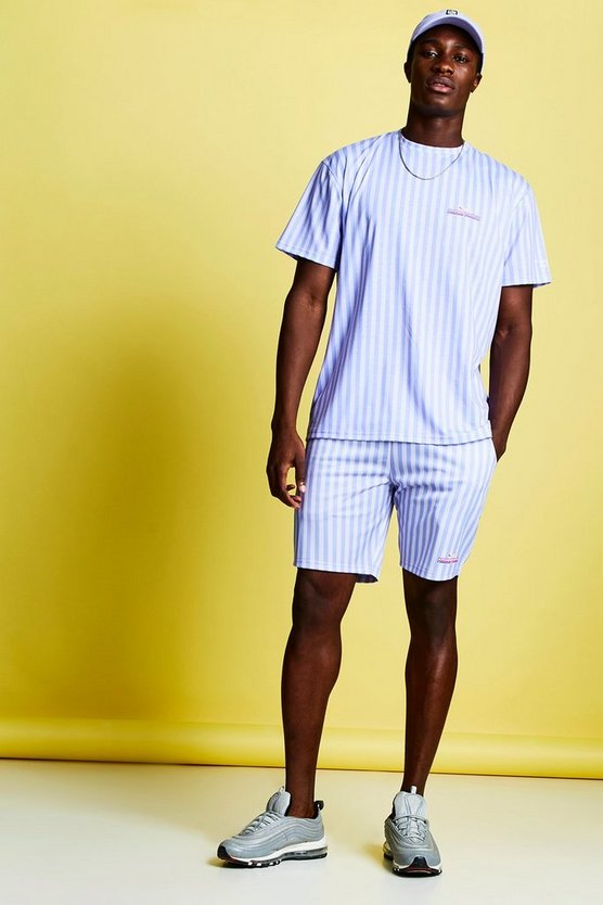Mens Lilac Swizzels Parma Violets Stripe T-Shirt & Short Set