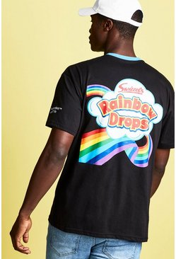 Mens Black Swizzels Loose Fit Rainbow Print T-Shirt