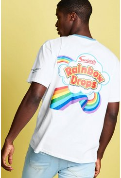 Mens White Swizzels Loose Fit Rainbow Print T-Shirt