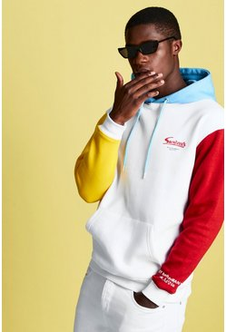 Mens White Swizzels Colour Block Rainbow Print Hoodie