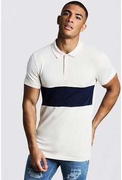 Mens Ecru Muscle Fit Short Sleeve Colour Block Polo