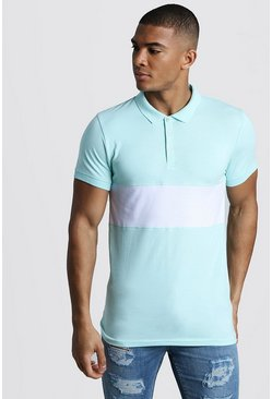 Kurzärmeliges Muscle-Fit Poloshirt im Colorblock-Design, Aquablau, Herren