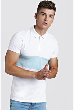 Mens White Muscle Fit Short Sleeve Colour Block