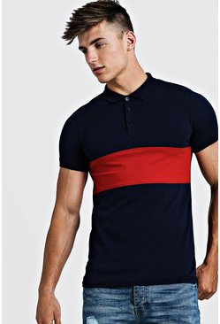 Mens Navy Muscle Fit Short Sleeve Colour Block Polo