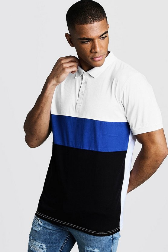 Kurzärmeliges Muscle-Fit Poloshirt im Colorblock-Design., Kobaltblau, Herren