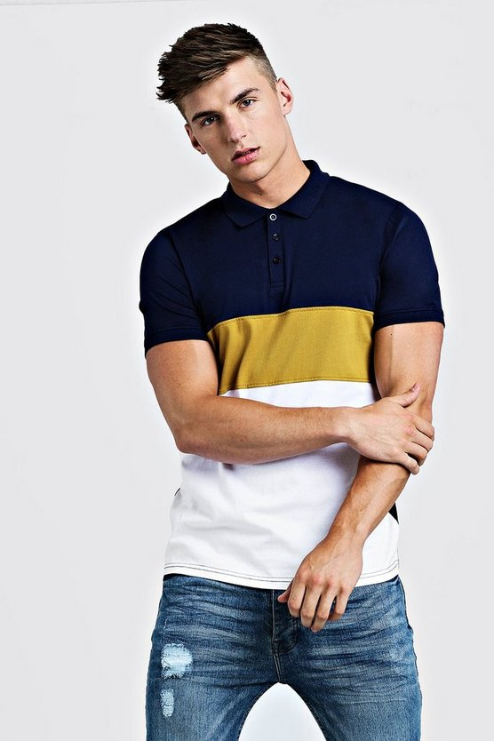 Mens Mustard Short Sleeve Colour Block Polo