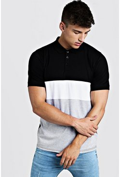 Mens White Short Sleeve Colour Block Polo