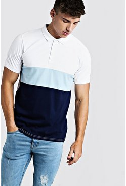 Mens Pale blue Short Sleeve Colour Block Polo