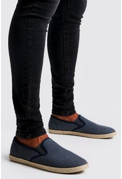 Mens Navy Slip On Canvas Plimsolls