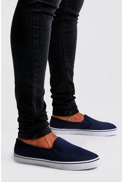 Mens Navy Slip On Plimsolls