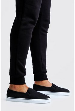 Herr Black Slip On Plimsolls