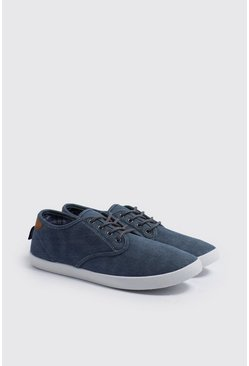 Mens Navy Lace Up Plimsolls