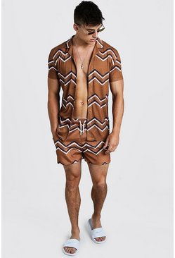 Mens Mustard Chevron Revere Shirt & Swim Set